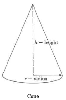 A cone with height h and radius r.