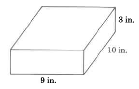 A rectangular solid with width 9in, length 10in, and height 3in.