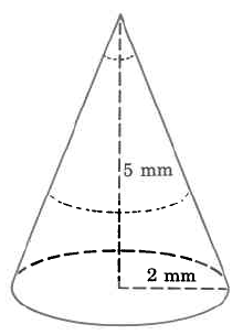 A cone with height 5mm and radius 2mm