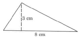 A triangle with base 8cm and height 3cm.