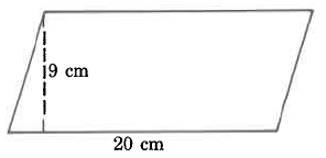 A parallelogram with base 20cm and height 9cm.