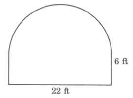A rectangle with a half-circle on top. The rectangle's width is 22ft, which is also the diameter of the circle, and the rectangle's height is 6ft.