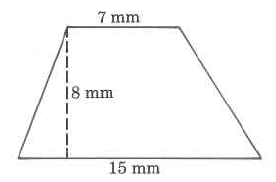 A trapezoid with bottom base 15 mm, top base 7 mm, and height 8 mm.