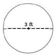 A circle with a diameter of 3ft.
