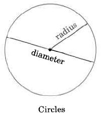Circles. The distance across the circle is the diameter. The distance from the center of the circle to the edge is the radius.
