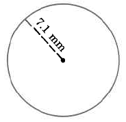 A circle with a radius of 7.1mm.