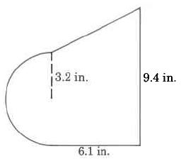 A trapezoid with a half-circle attached to one base. The half-circle's radius is 3.2in. The other base is 9.4in. The height of the trapezoid is 6.1in.