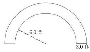A tubelike shape in a half circle. The inner circle's radius is 6.0ft. The tube's thickness is 2.0ft.