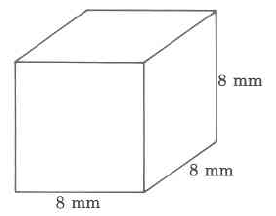 A rectangular solid with width 8mm, length 8mm, and height 8mm.