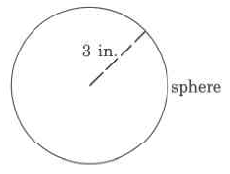 A sphere with a radius of 3in.
