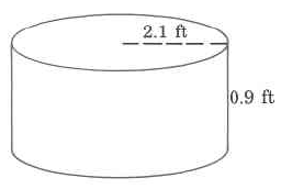 A cylinder with a radius of 2.1ft and a height of 0.9ft.
