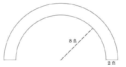 A tubelike shape formed in a half-circle. The inner circle portion's radius is 8ft. The thickness of the tube is 2ft.