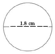 A circle. The circle's diameter is 1.8cm.