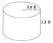 A cylinder. The cylinder's radius is 3.8ft, and its height is 2.3ft.