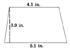 A trapezoid with bottom base 5.1in, top base 4.1in, and height 3.9in.