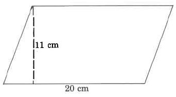 A parallelogram with base 20cm and height 11cm.