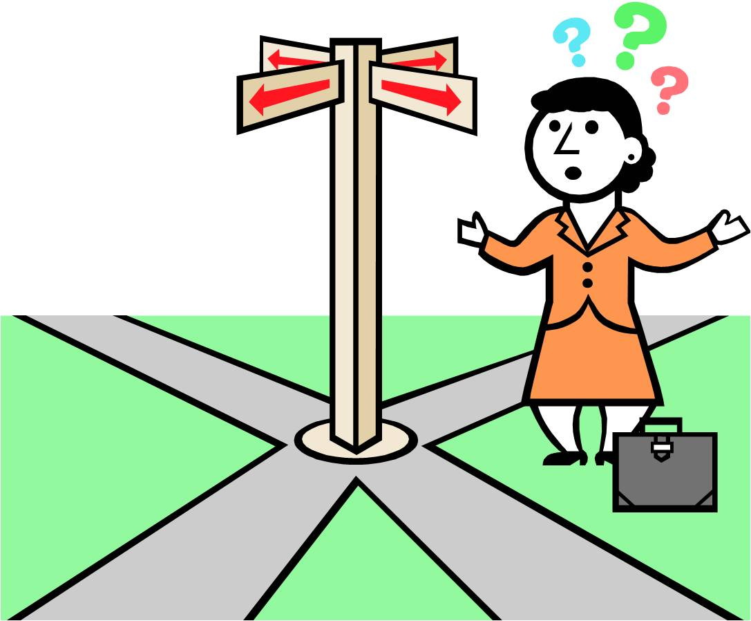 A confused woman stands before a signpost pointed all four ways.