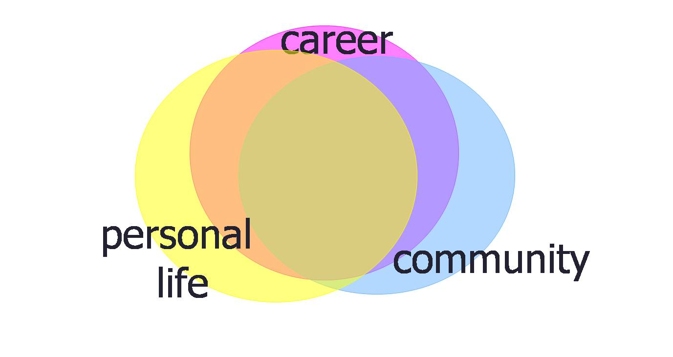 Three circles, entitled career, personal life, and community, overlapping nearly completely.