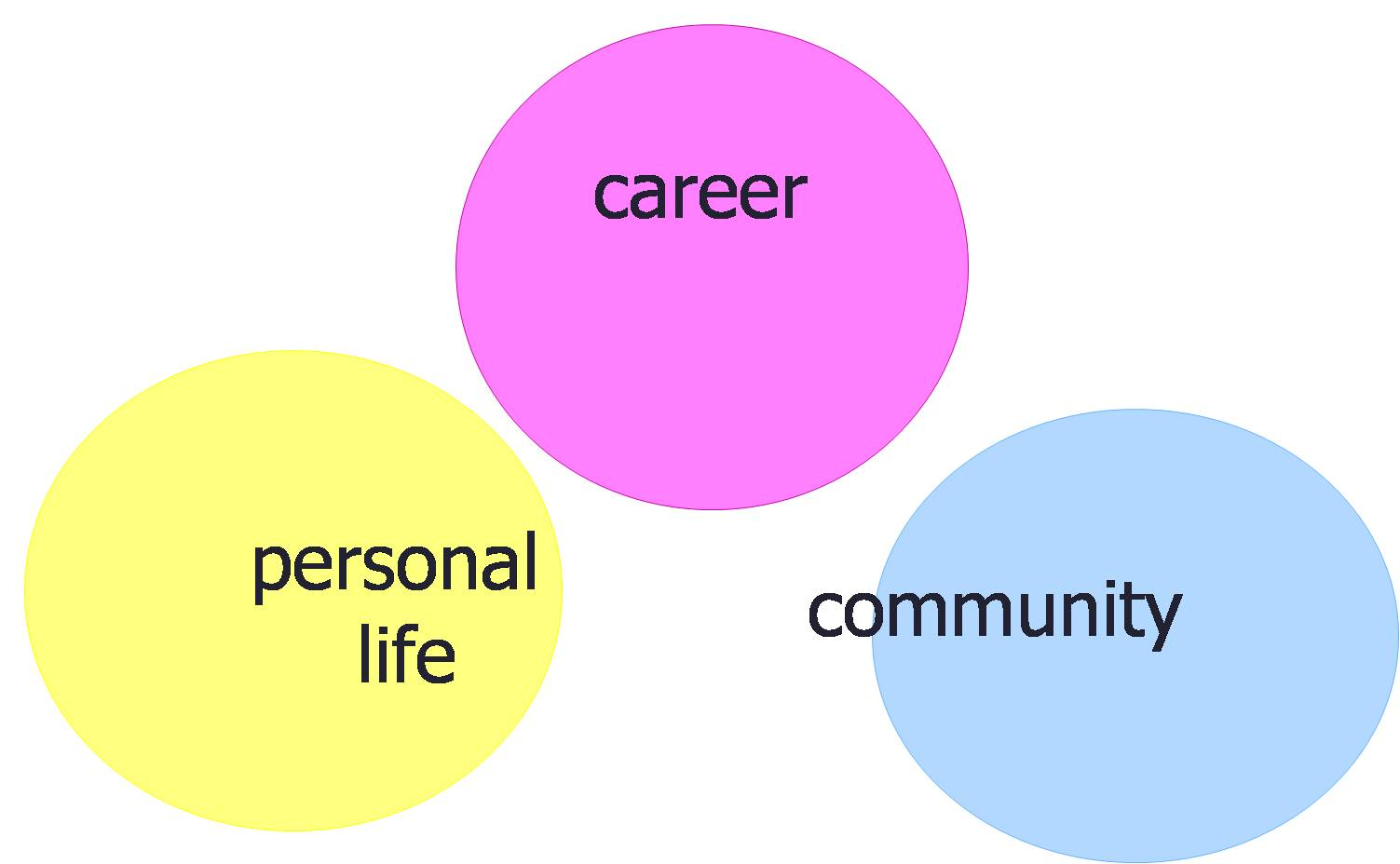 Three circles, entitled career, personal life, and community, not overlapping.