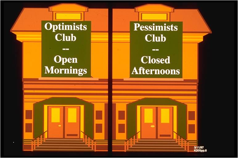 One half of a building says 'Optimists' Club: Open Mornings'. The other half says 'Pessimists' Club: Closed Afternoons'.