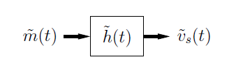 This is a simple flowchart showing movement from expression m-tilde(t) to box h-tilde(t) to expression v-tilde_s(t).
