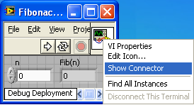 A screen cap of a windows window with a menu present. The item  'show connector'is highlighted.