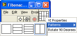 A screen cap of a windows window showing a menu with the item 'patterns' highlighted and a row of icon indicating which patterns can be selected for the Connector Pattern.