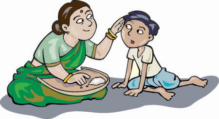 A cartoon of Vinoba's mother explaining why she counts grains of rice everyday as she brushes his hair.