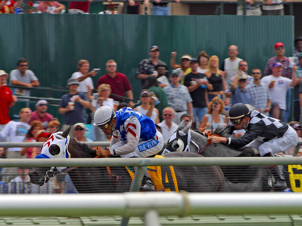 Two racehorses running toward the left.