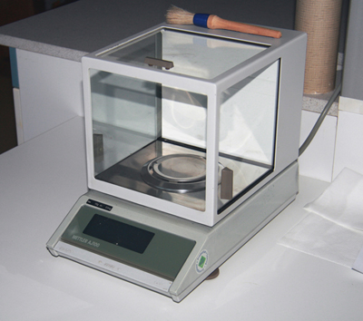 A digital analytical balance.