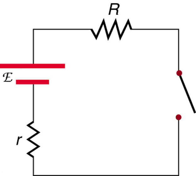 The diagram shows a circuit with a voltage source and internal resistance small r connected in series with a resistance R and a switch.