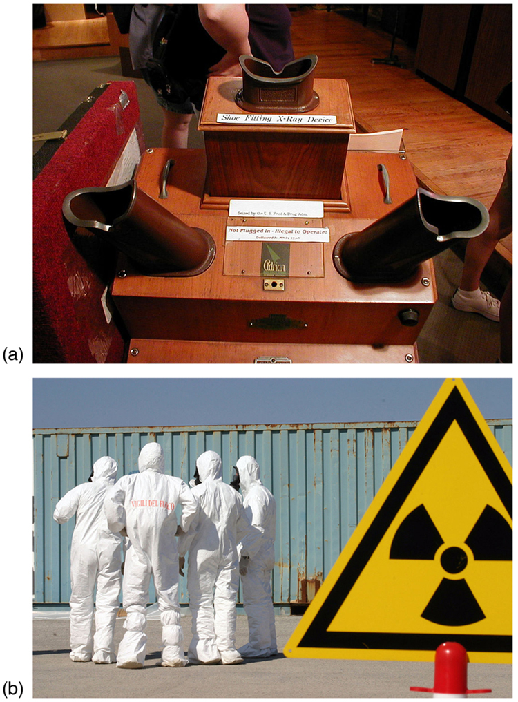 "Figure A shows a ""shoe fitting x-ray device."" Figure B shows a group of people wearing white protective suits standing near a yellow radiation hazard sign."