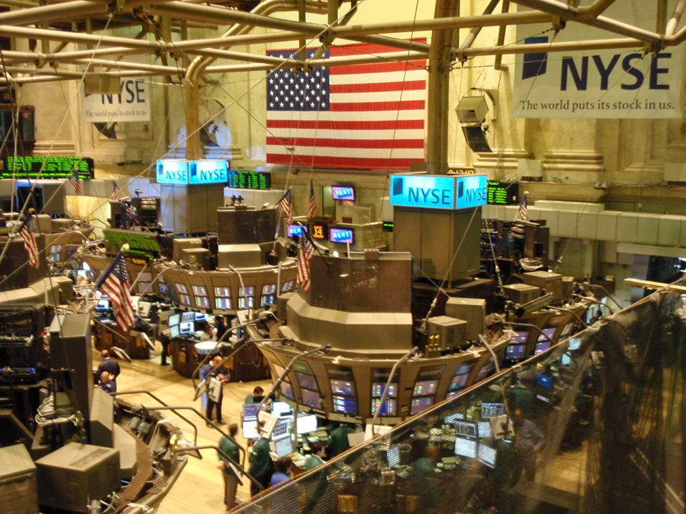 An overhead view of the New York Stock Exchange is shown here.