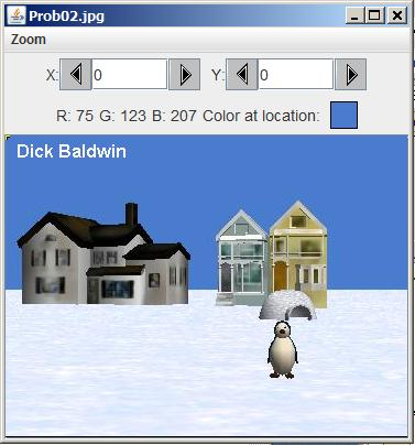 Image of a penguin in the snow in front of some houses.