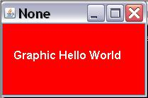 Image of a frame with a red background and the words Graphic Hello  World in white.