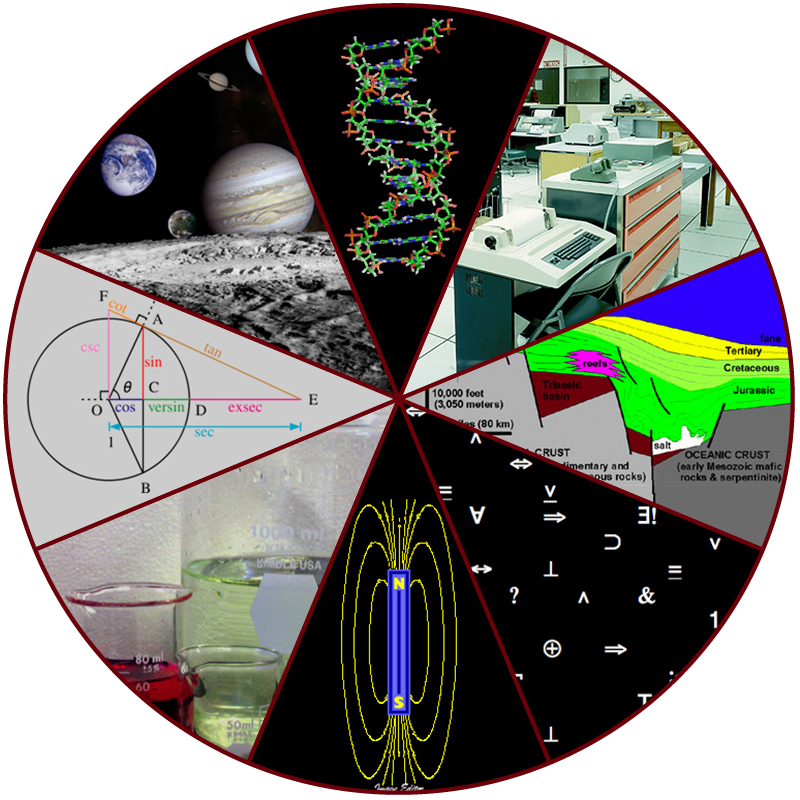 A collage includes a photo of planets in our solar system, a DNA molecule, scientific equipment, a cross-section of the ocean floor, scientific symbols, a magnetic field, beakers of fluid, and a geometry problem.