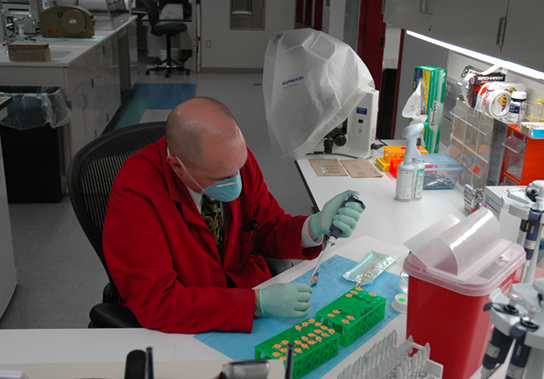 Photo depicts a scientist working in the lab.