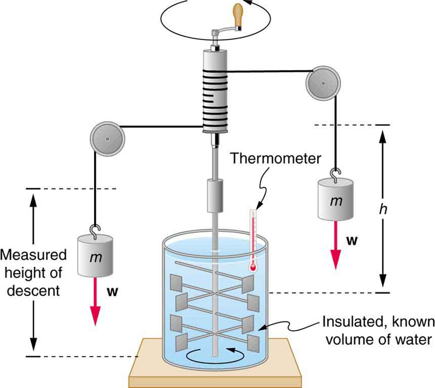 In the figure, there is a can of known volume full of water and fitted with a thermometer at the top. On both sides of the can two blocks of weight W each hang from cords. The cords pass over two pulleys and wind around a cylindrical roller. There is a handle attached with the roller to rotate it manually. Submerged in the water are some paddles attached to a vertical rod attached at the bottom of the roller. When the lever is rotated, the paddles move inside the water.