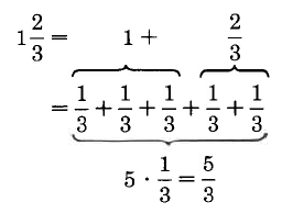 one and two thirds is equivalent to one plus two thirds. One can be expanded to three thirds, making the original number equivalent to the sum of five one-thirds, or five thirds.