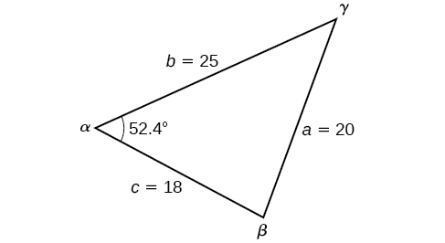 A triangle with standard labels. Side b =25, side a = 20, side c = 18, and angle alpha = 52.4 degrees.