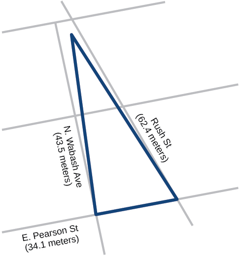 A triangle formed by sides Rush Street, N. Wabash Ave, and E. Pearson Street with lengths 62.4, 43.5, and 34.1, respectively.