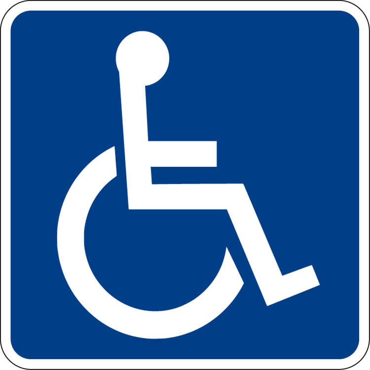 A blue handicapped accessible sign is shown here.