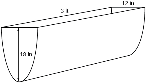 "Diagram of a parabolic trough that is 18"" in height, 3' in length, and 12"" in width."