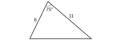 A triangle. One angle is 75 degrees with opposite side unknown. The adjacent sides to the 75 degree angle are 8 and 11.