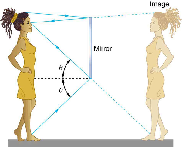 A girl stands in front of a mirror and looks into the mirror for her image. The light rays from her feet and head fall on the mirror and get reflected following the law of reflection: the angle of incidence theta is equal to the angle of reflection theta.