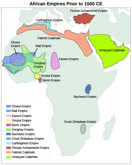 A map shows the locations of the major West African empires before 1492, including the Ghana Empire; Mali Empire; Kanem Empire; Yoruba Empire; Benin Empire; Songhay Empire; Bachwezi Empire; Great Zimbabwe Empire; Carthaginian Empire; Persian Achaemenid Empire; Fatimid Caliphate; and Umayyad Caliphate.