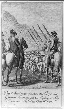 A 1784 German engraving shows British soldiers laying down their muskets before the American forces, who watch from horseback in the foreground.
