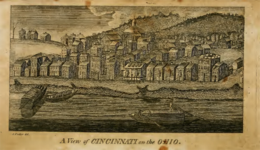 An engraving presents a view of early nineteenth-century Cincinnati from across the Ohio River.