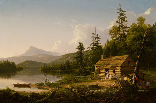 A painting depicts a log cabin in the woods. A woman stands in the doorway of the house, surrounded by children. A man returns from fishing in the body of water beside the house, where a small boat is docked. Laundry hangs from the trees.