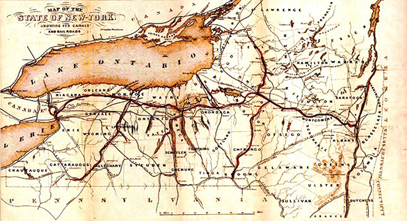 An 1853 map of New York State shows its extensive networks of railroads and canals.